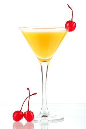 maraschino: Alcohol cocktail with orange juice and maraschino isolated on white background