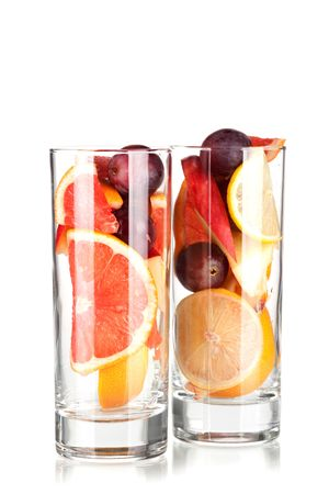 Cocktail collection: Refreshing fruit sangria (punch) without wine isolated on white background photo