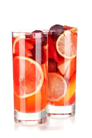 Cocktail collection: Refreshing fruit sangria (punch) isolated on white background Stock Photo - 6034412