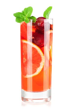 Cocktail collection: Refreshing fruit sangria (punch) isolated on white background Stock Photo - 6034422