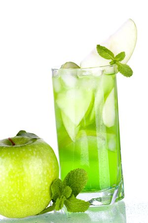 Green cocktail with apples and mint isolated on white background photo