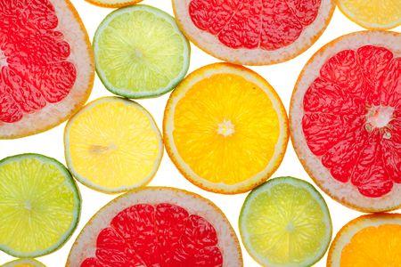 Citrus food background: Grapefruit, Lime, Lemon, Orange slices Stock Photo - 6086159