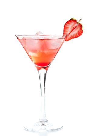 Strawberry alcohol cocktail isolated on white background photo