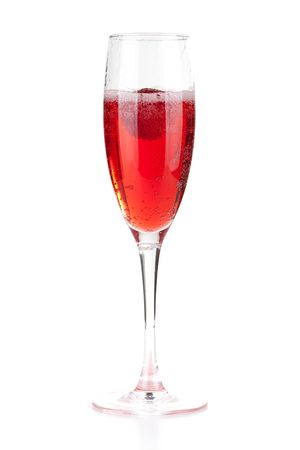 red taste: Champagne with strawberry - christmas alcohol cocktail. Isolated on white background Stock Photo