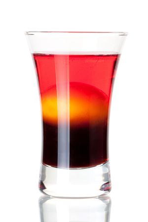 Shot cocktail collection: Morning alcohol cocktail isolated on white background. Ingredients: 1 oz coffee liquor, 1 raw yellow egg, 1 oz cranberry vodka Stock Photo - 6167990