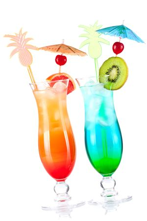 Two tropical alcohol cocktails isolated on white background photo