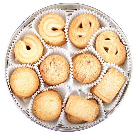 Cookies danois en bo�te ronde isol�e sur fond blanc Banque d'images - 6199982