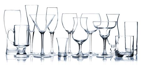 empty glass: Glass series - All Cocktail Glasses isolated on white