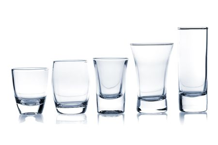 Cocktail Glass Collection - Shots. Isolated on white background