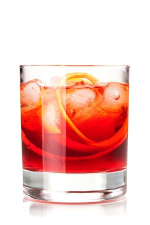 Alcohol cocktail collection - Negroni. Isolated on white background