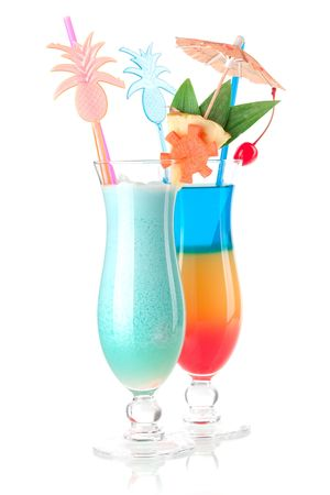 Cocktail collection - Two tropical cocktails with decoration. Isolated on white background Stock Photo - 6317506