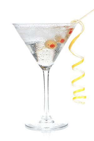 martini: Cocktail collection - Classic martini with lemon decoration. Isolated on white background