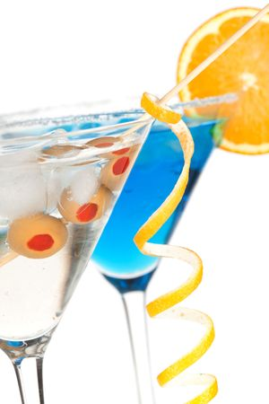 Two martini cocktails with olive and lemon. Isolated on white background Stock Photo - 6340318