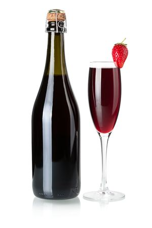 Wine collection - Strawberry champagne bottle and glass. Isolated on white background Stock Photo