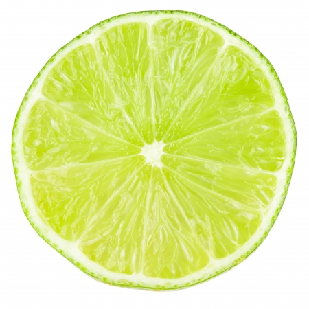Macro food collection - Lime slice. Isolated on white background photo