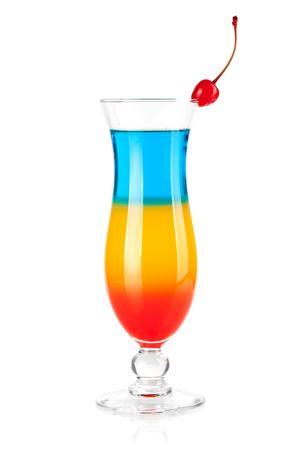 rainbow cocktail: Collezione cocktail - tre strati cocktail tropicale. Isolato su sfondo bianco Archivio Fotografico