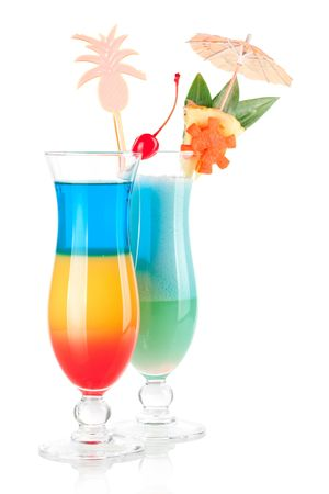 rainbow cocktail: Cocktail collection - Two tropical cocktails with decoration. Isolated on white background