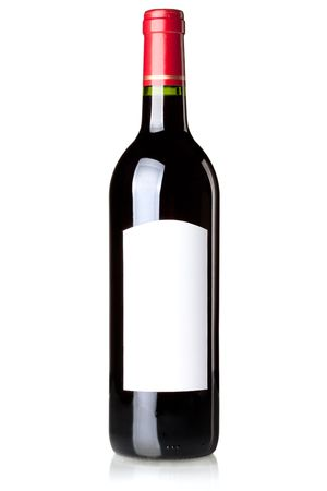 white wine bottle: Wine collection - Red wine in bottle with blank label. Isolated on white background