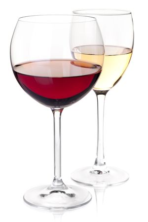 Wine collection - Red and white wine in glasses. Closeup. Isolated on white background