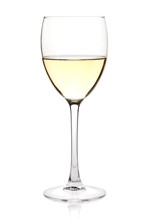 Wine collection - White wine in glass. Isolated on white background photo