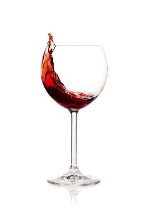 incidence: Wine collection - Splashing red wine in a glass. Isolated on white background