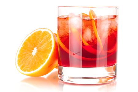 Alcohol cocktail collection - Negroni with orange. Isolated on white background photo