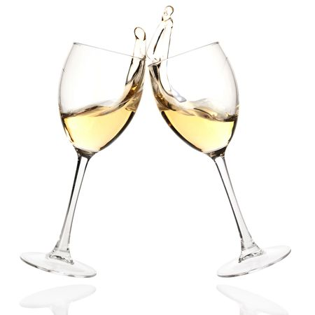 pour: Wine collection - Cheers! Clink glasses with white wine. Isolated on white background