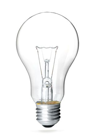 A light bulb. Isolated on white background with separated shadow photo