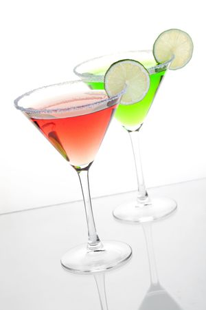Cocktail collection - Cosmopolitan and mint alcohol cocktails. Isolated on white background Stock Photo - 6466389