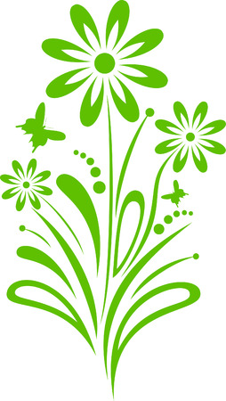 green flower with the butterflies Stock Vector - 6466385