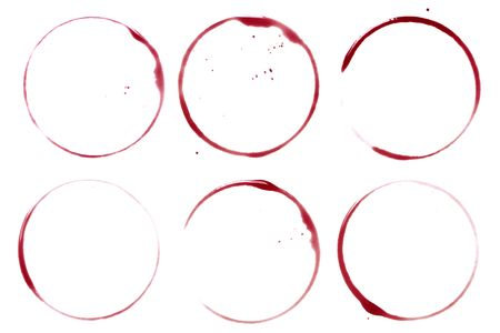 wine stains: Wine collection - stains and spots. On white background Stock Photo