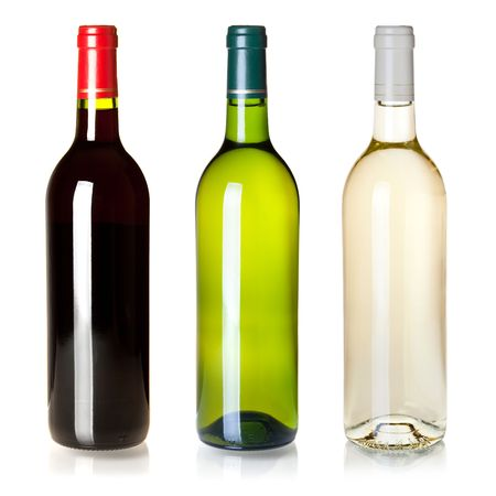 bottle label: Wine collection - Three closed wine bottles without labels. Isolated on white background