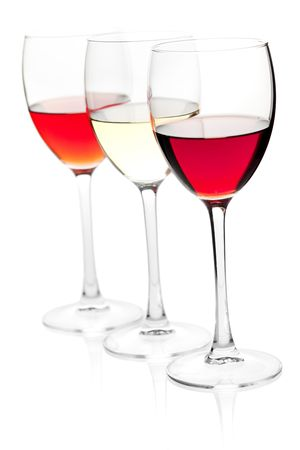 Wine collection - Rose, White and Red wine. Isolated on white background Stock Photo - 6466413