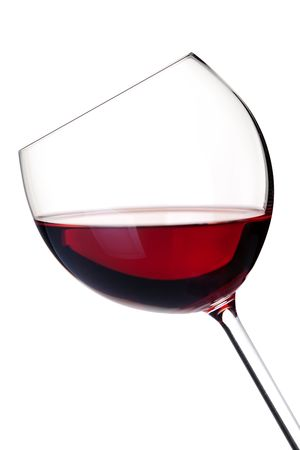 burgundy drink glass: Wine collection - Red wine in glass. Isolated on white background