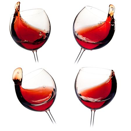 drinkable: Wine collection - Various wine splashes. Isolated on white background Stock Photo