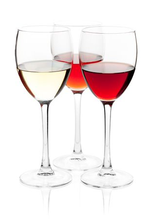 Wine collection - White, Rose and Red wine. Isolated on white background Stock Photo - 6507989