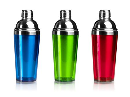 Three color cocktail shakers. Isolated on white background Stock Photo - 6548479