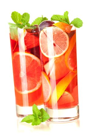 Cocktail collection: Refreshing fruit sangria (punch) isolated on white background photo