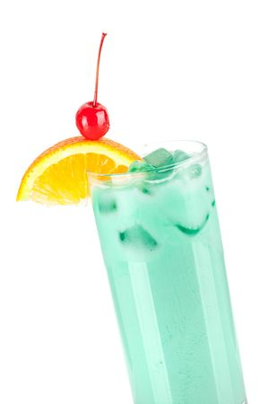 Cocktail collection: Blue milk. Isolated on white background photo