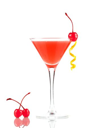 Alcohol cocktail with orange juice and grenadine with two cherry isolated on white background Stock Photo - 6548441