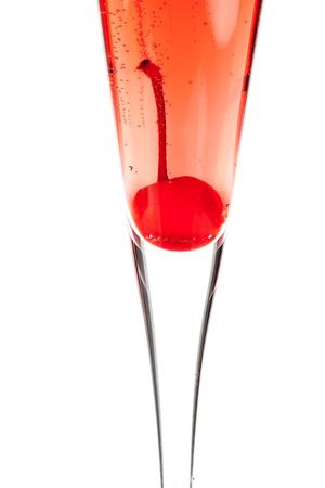 grenadine: Red Champagne alcohol cocktail isolated on white background. Ingredients: 1 oz grenadine and 10 oz champagne Stock Photo