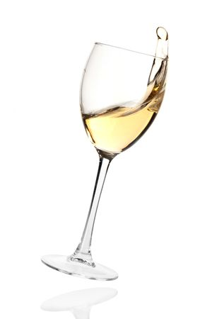 white wine glass: Wine collection - Splashing white wine in a falling glass. Isolated on white background