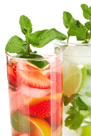 Cocktail collection: Strawberry and classic mojito isolated on white background photo