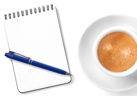 Blank organizer with pen and coffee cup. Isolated on white background Stock Photo - 6548517