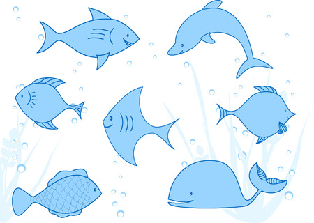 diverse fishes floating in the sea Vector