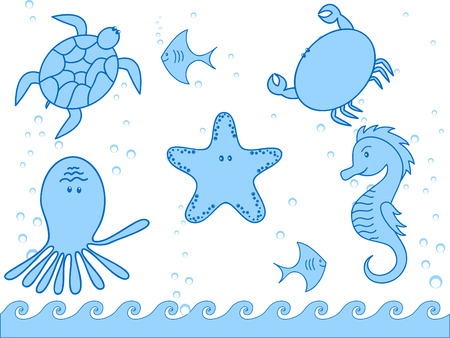 inhabitants: marini abitanti e il pesce  Vettoriali