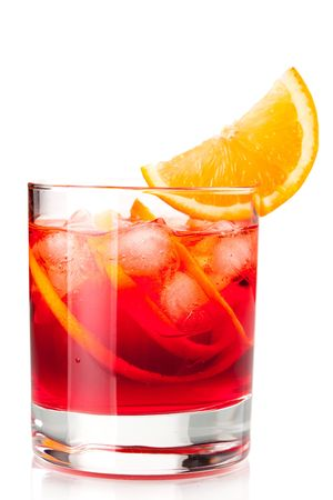 Alcohol cocktail collection - Negroni with orange slice. Isolated on white background