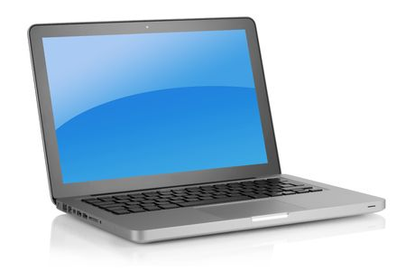Laptop with blue background. Isolated on white background Stock Photo - 6591770