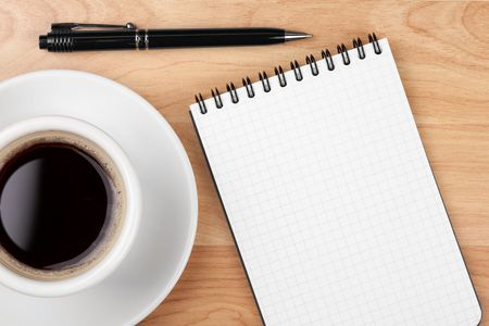 pad and pen: Espresso cup with blank notepad and pen on wood table Stock Photo