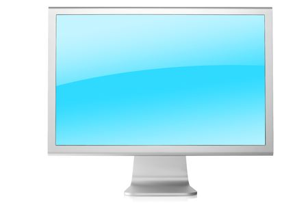 visual information: Computer Monitor with blue background. Front view, isolated on white background